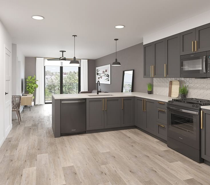 Modern kitchen with clean lights and ample natural light