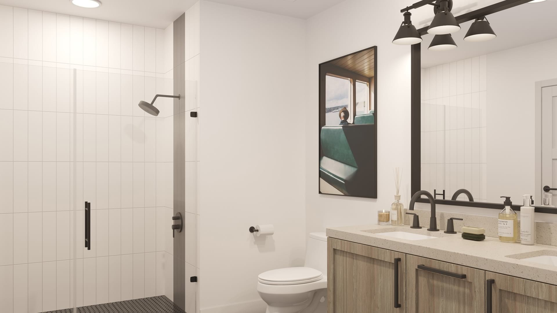 Bathroom with ample lighting and modern conveniences