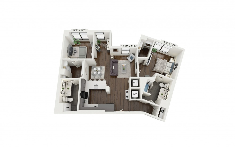 C1 - 2 bedroom floorplan layout with 2 baths and 1212 square feet.