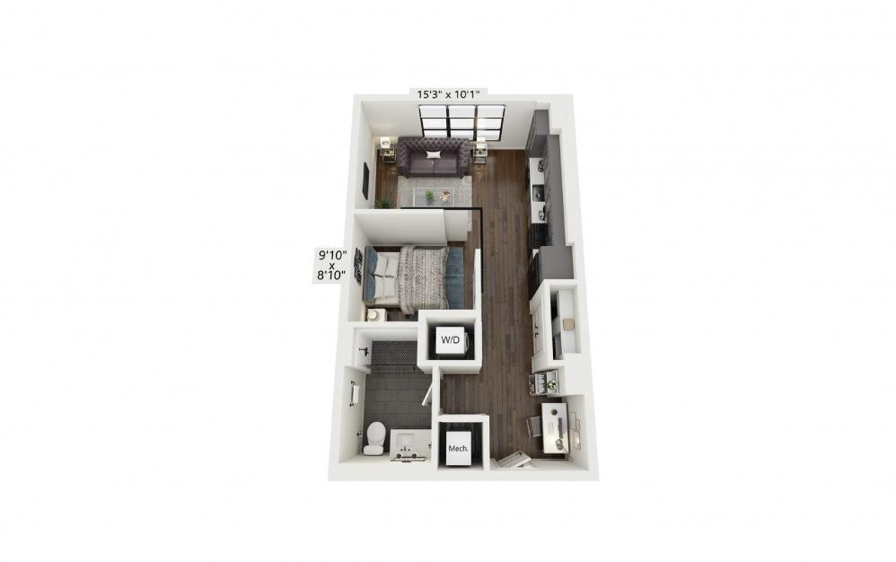S3 - Studio floorplan layout with 1 bath and 580 square feet.
