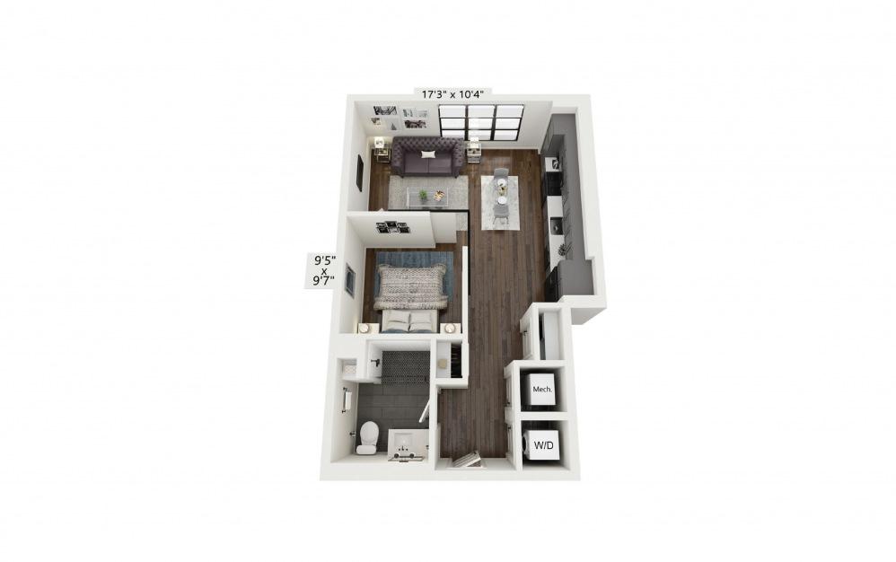 S5 - Studio floorplan layout with 1 bath and 610 square feet.