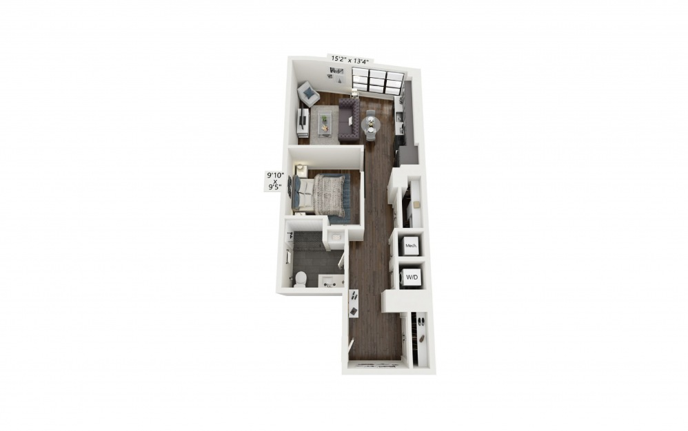A8 - 1 bedroom floorplan layout with 1 bath and 701 square feet.