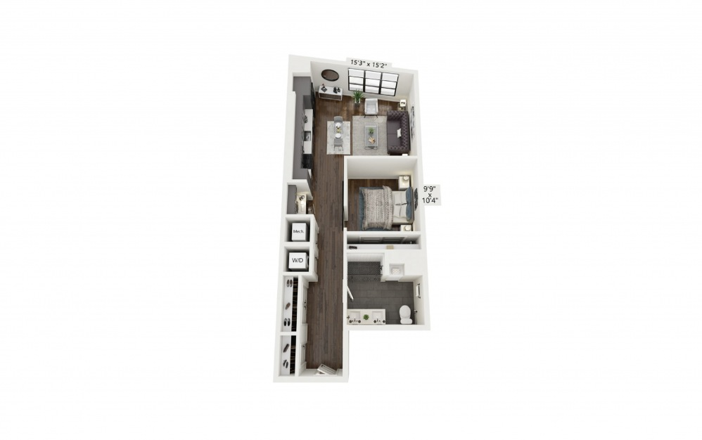 A12 - 1 bedroom floorplan layout with 1 bath and 749 square feet.