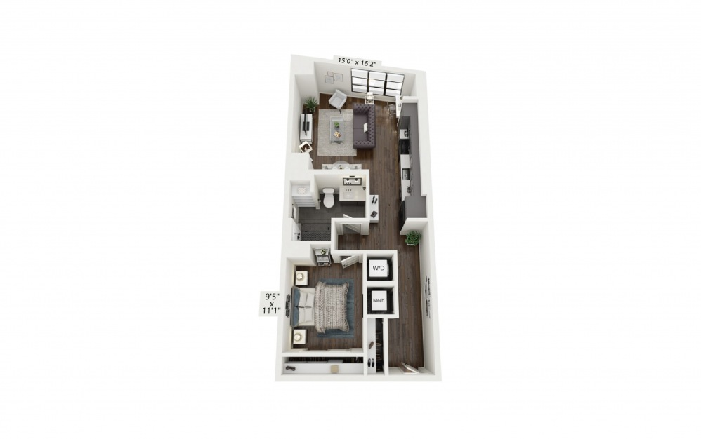 A13 - 1 bedroom floorplan layout with 1 bath and 754 square feet.