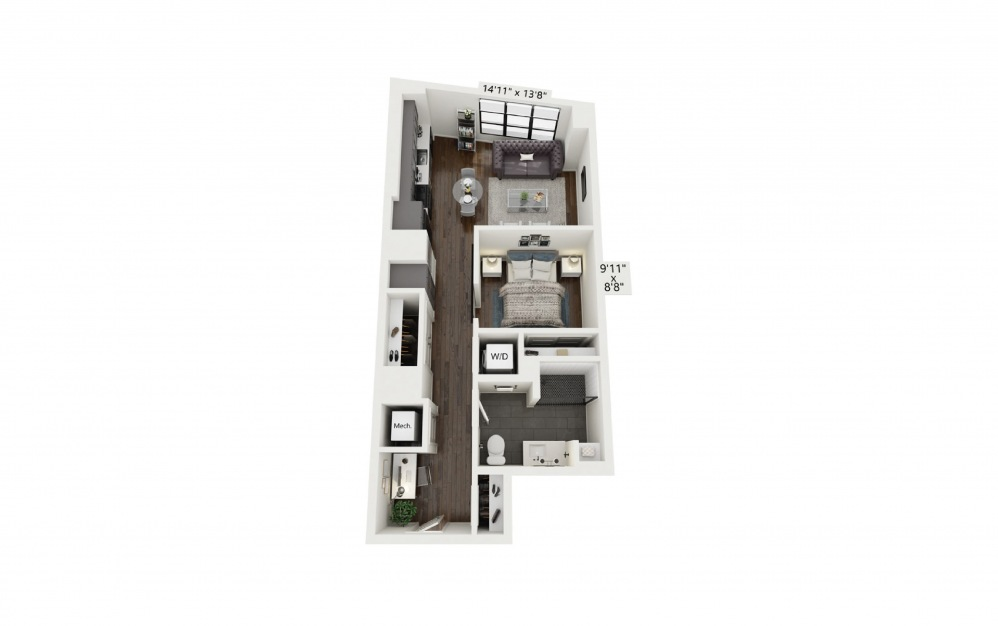 A3 - 1 bedroom floorplan layout with 1 bath and 669 square feet.