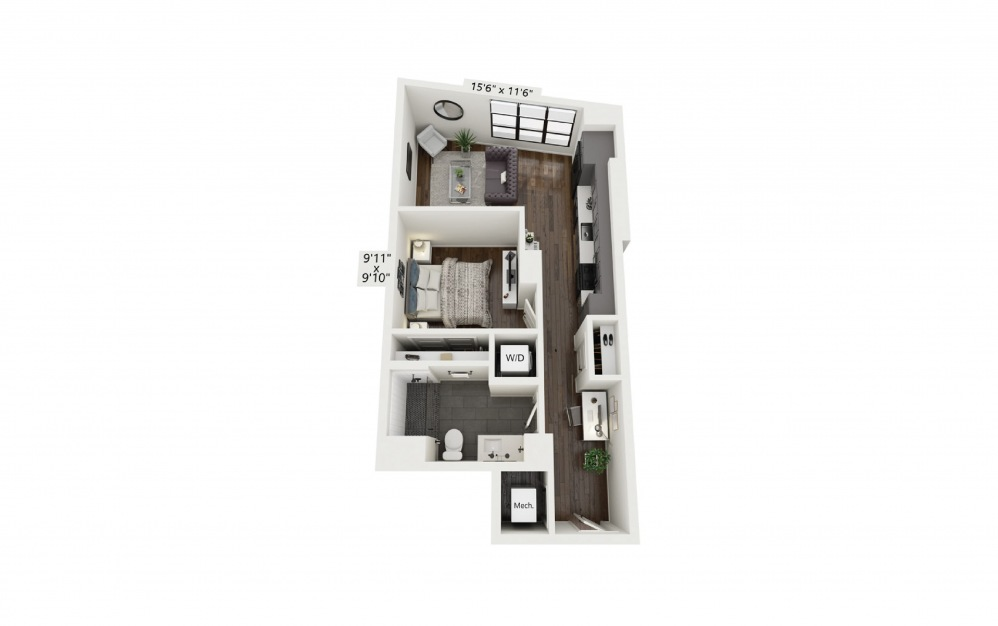 A2 - 1 bedroom floorplan layout with 1 bath and 626 square feet.