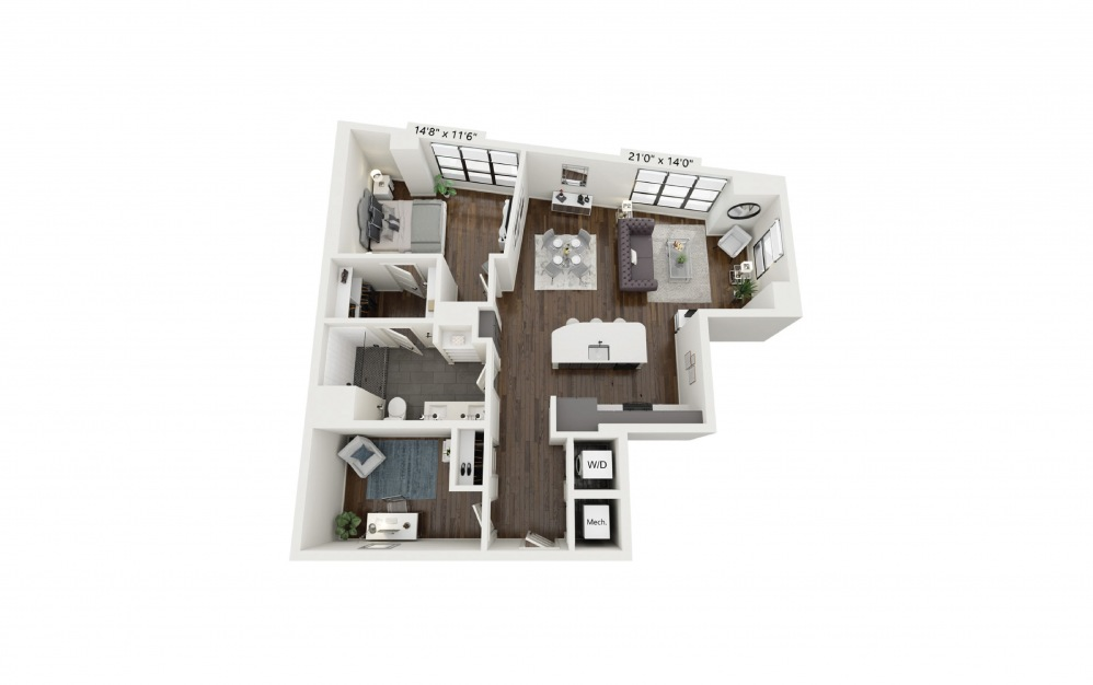 A26 - 1 bedroom floorplan layout with 1 bath and 1024 square feet.