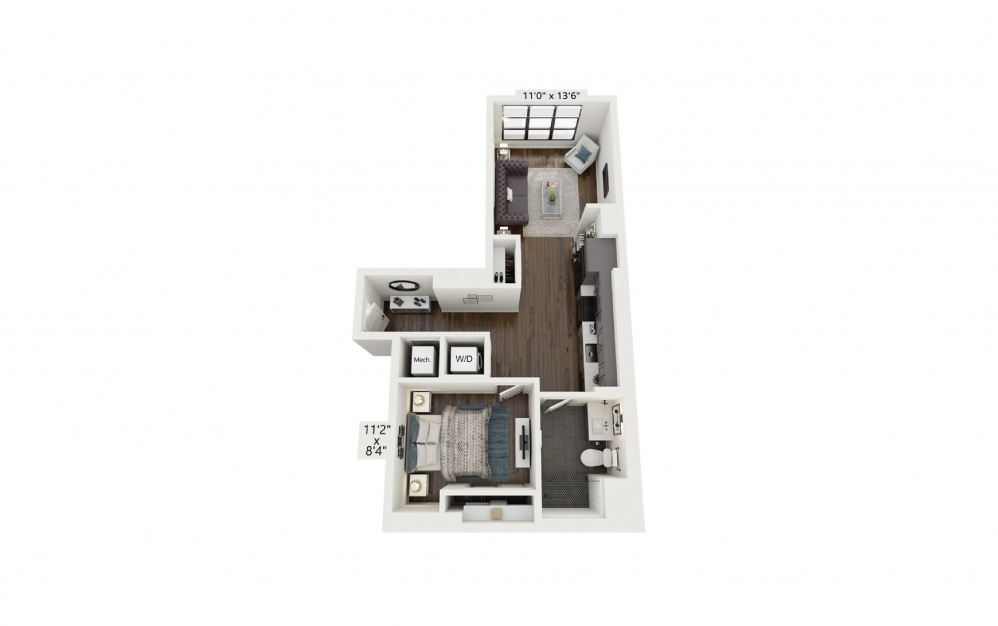 A1 - 1 bedroom floorplan layout with 1 bath and 623 square feet.