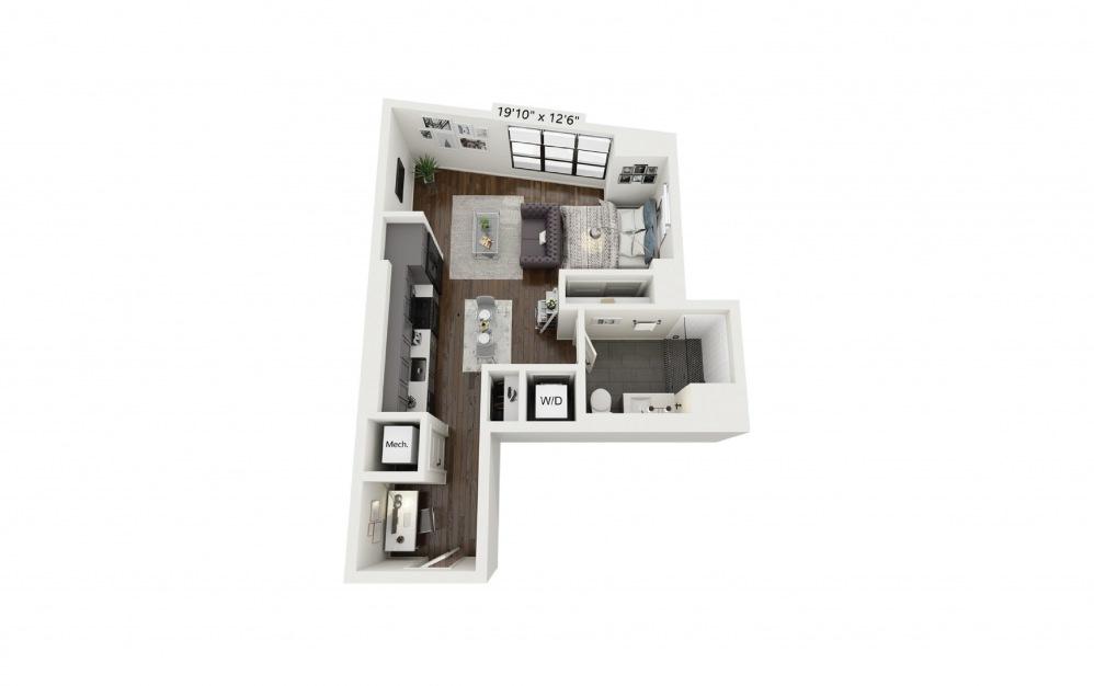 S1 - Studio floorplan layout with 1 bath and 558 square feet.