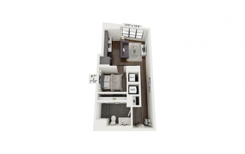 S2 - Studio floorplan layout with 1 bath and 568 square feet.