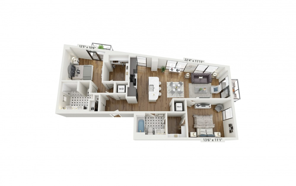 PH-B2 - 2 bedroom floorplan layout with 2 baths and 1266 square feet.