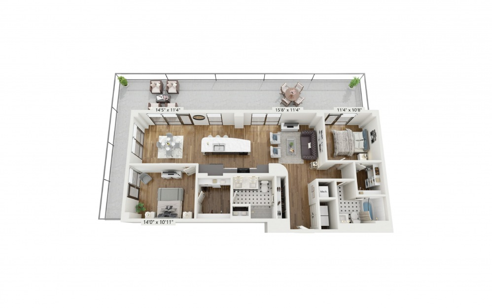 PH-B7 - 2 bedroom floorplan layout with 2 baths and 1328 square feet.