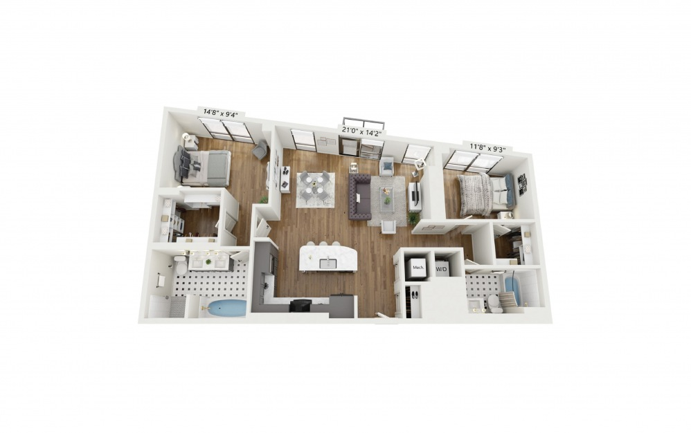 PH-B3 - 2 bedroom floorplan layout with 2 baths and 1300 square feet.