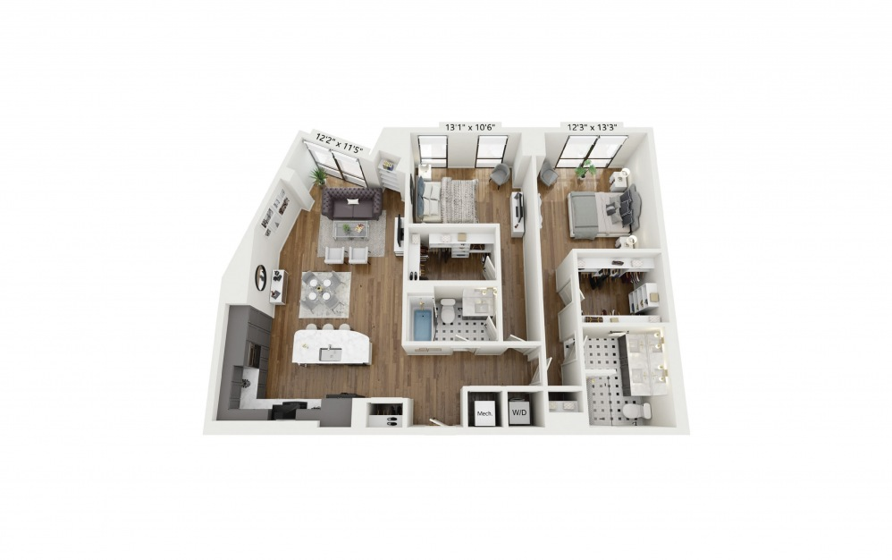 PH-B8 - 2 bedroom floorplan layout with 2 baths and 1358 square feet.