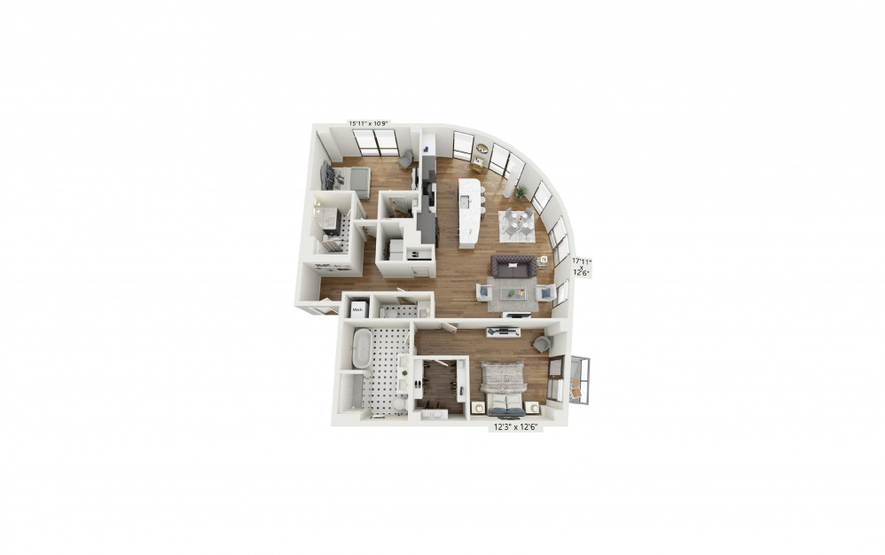 PH-B10 - 2 bedroom floorplan layout with 2.5 baths and 1483 square feet.