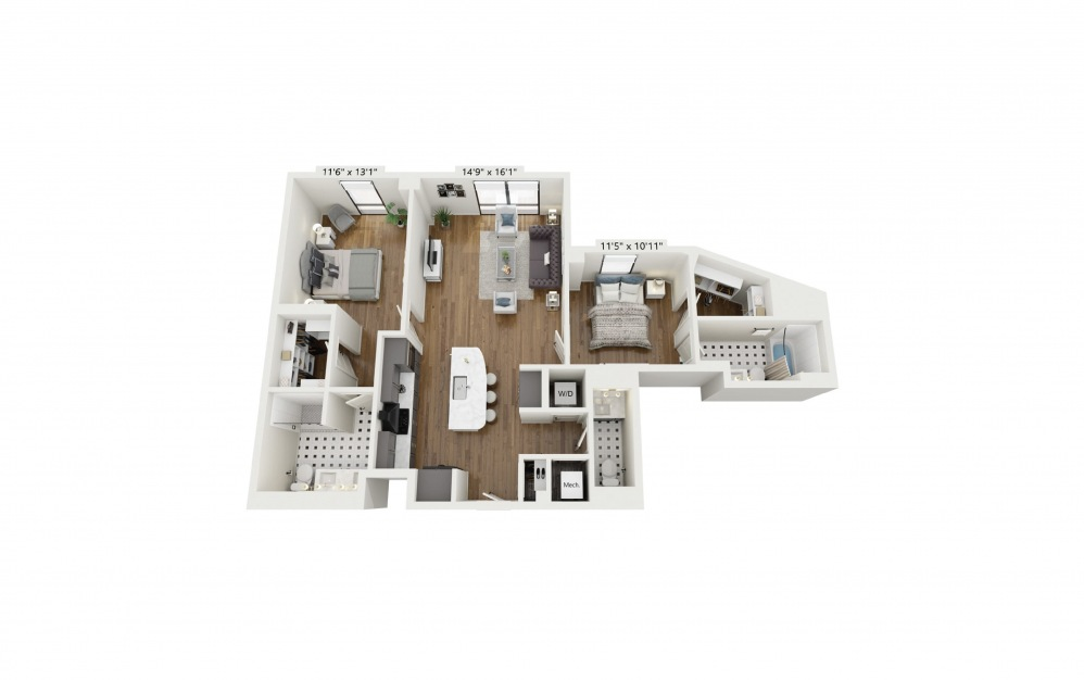 PH-B1 - 2 bedroom floorplan layout with 2.5 baths and 1209 square feet.