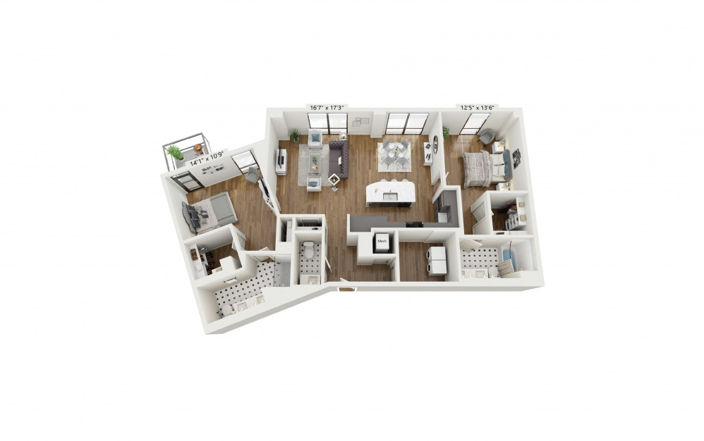 PH-B11 - 2 bedroom floorplan layout with 2.5 baths and 1491 square feet.