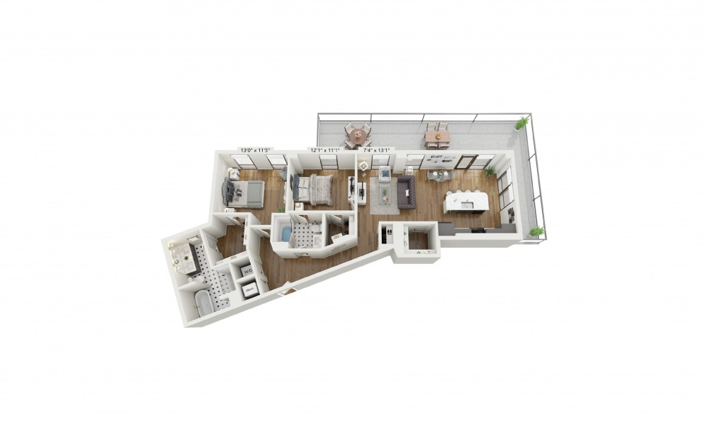 PH-B4 - 2 bedroom floorplan layout with 2 baths and 1301 square feet.
