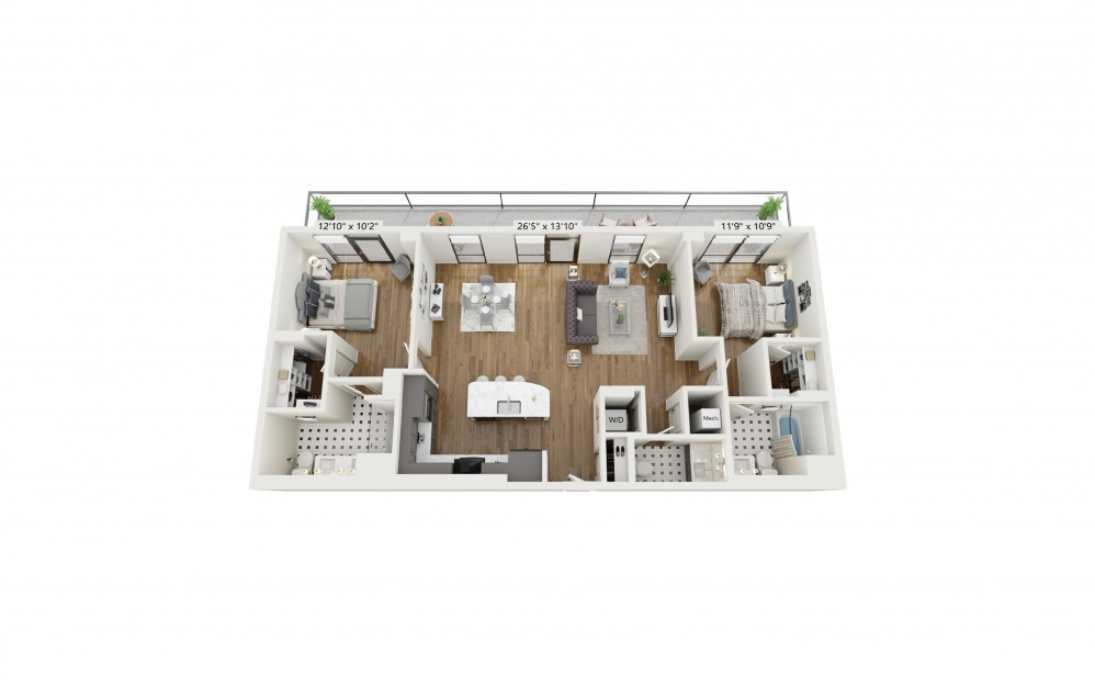 PH-B6 - 2 bedroom floorplan layout with 2.5 baths and 1327 square feet.