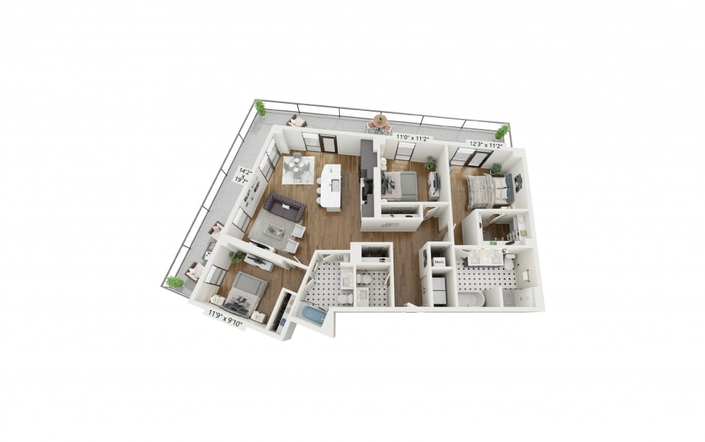 PH-C1 - 3 bedroom floorplan layout with 2 baths and 1428 square feet.
