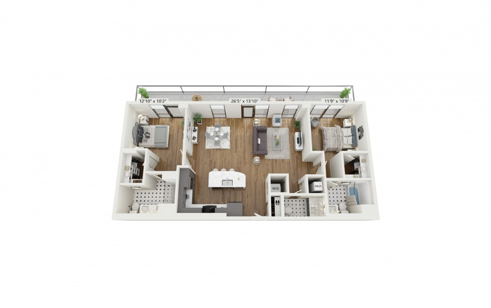 PH-B5 - 2 bedroom floorplan layout with 2.5 baths and 1301 square feet.