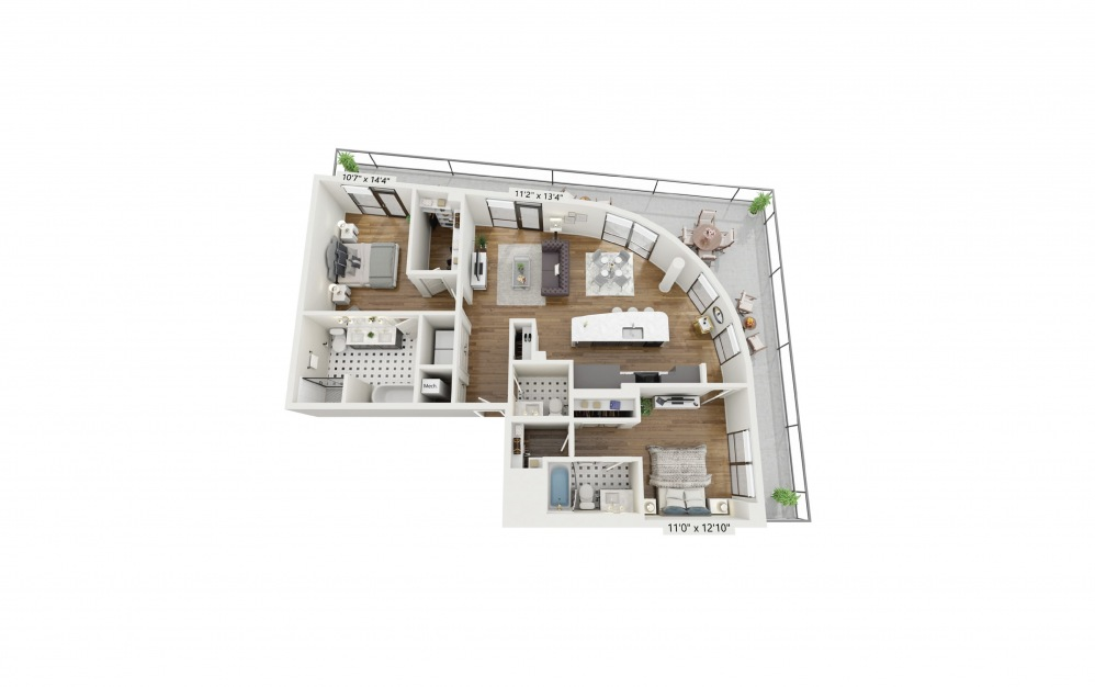 PH-B9 - 2 bedroom floorplan layout with 2.5 baths and 1372 square feet.