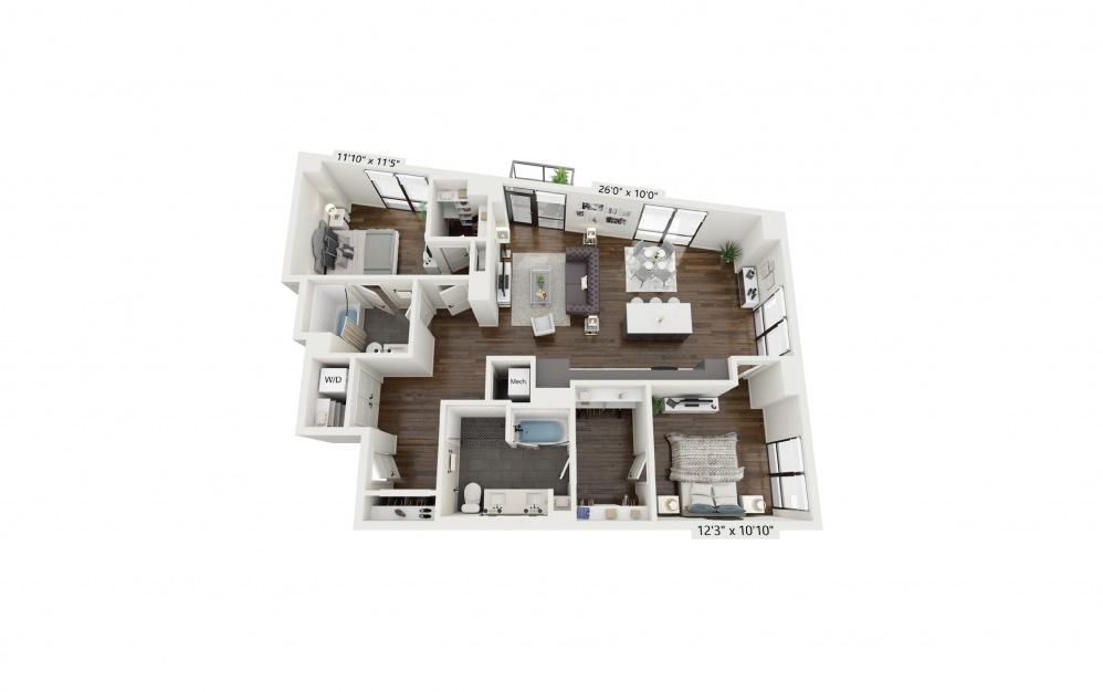 B6 - 2 bedroom floorplan layout with 2 baths and 1304 square feet.