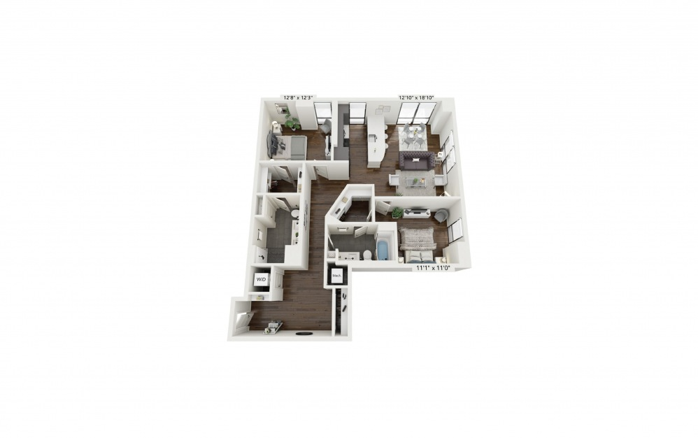 B7 - 2 bedroom floorplan layout with 2 baths and 1308 square feet.