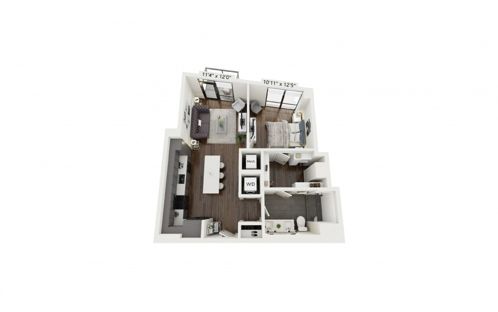 A10 - 1 bedroom floorplan layout with 1 bath and 737 square feet.