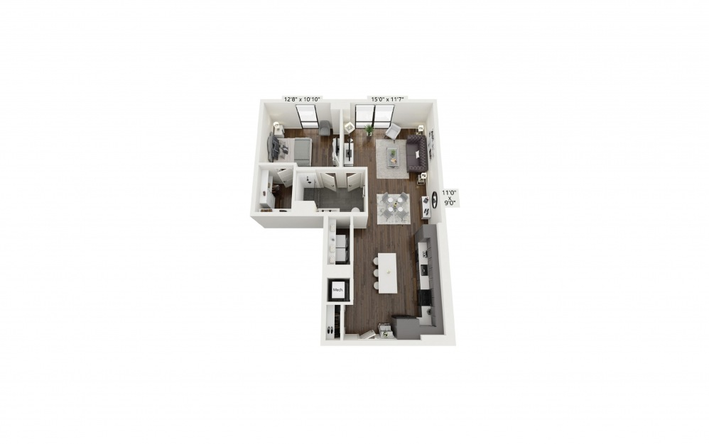 A23 - 1 bedroom floorplan layout with 1 bath and 880 square feet.