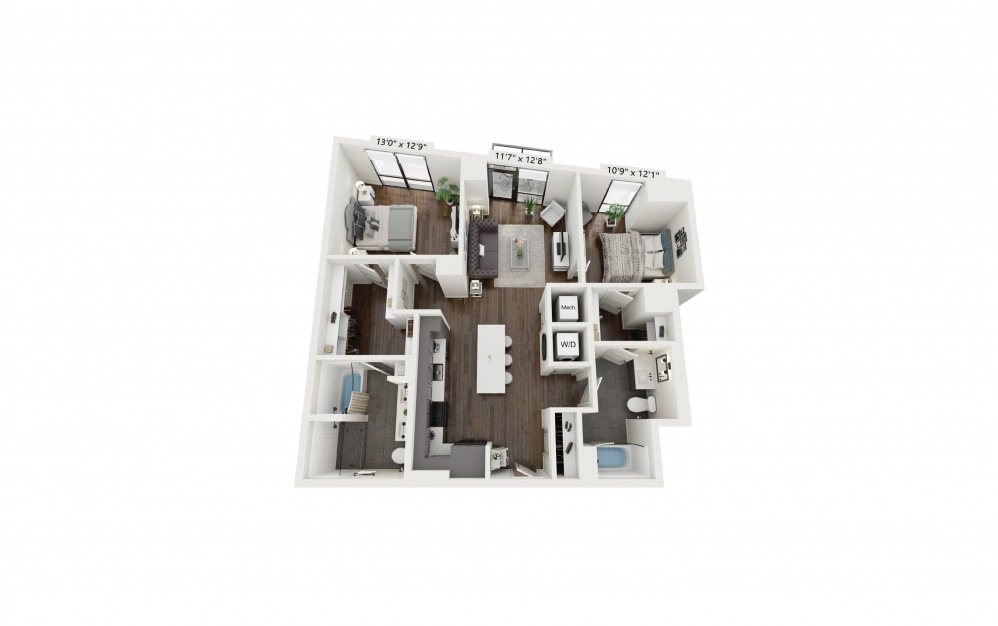 B1 - 2 bedroom floorplan layout with 2 baths and 1128 square feet.