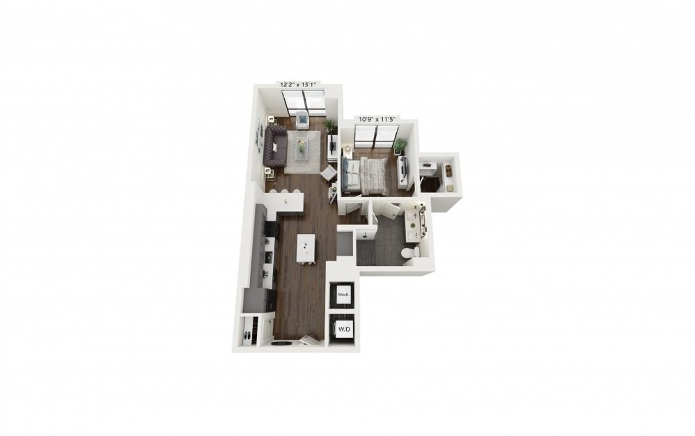 A20 - 1 bedroom floorplan layout with 1 bath and 797 square feet.