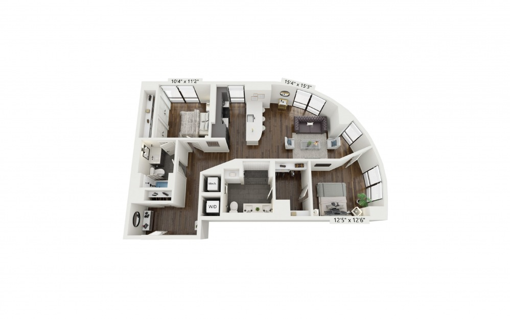 B4 - 2 bedroom floorplan layout with 2 baths and 1173 square feet.