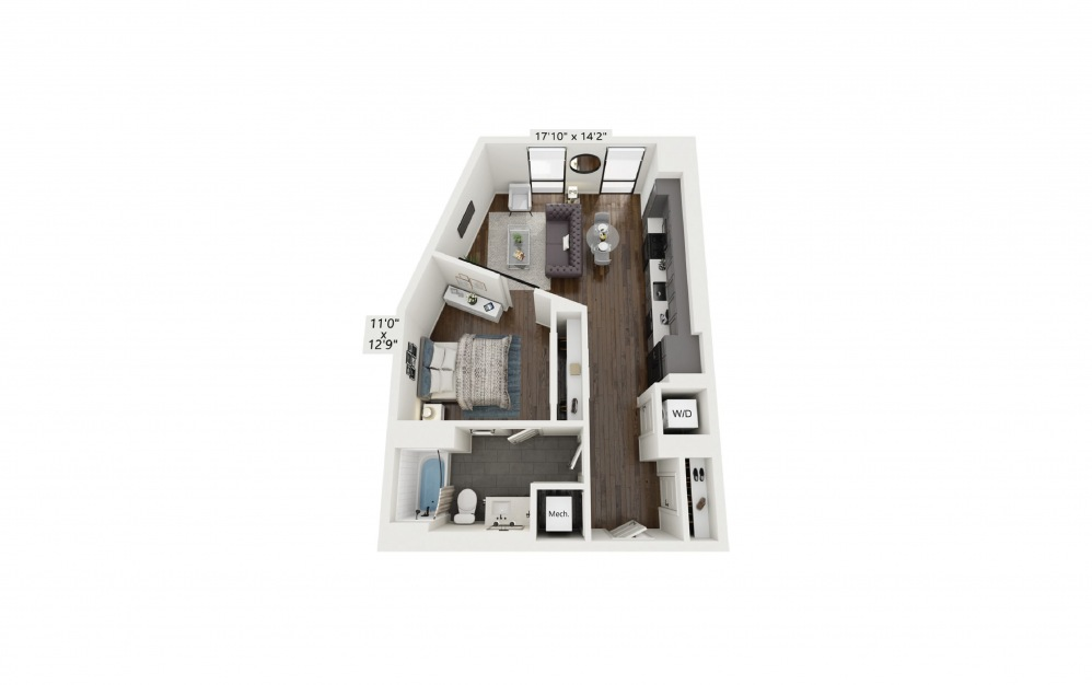 A6 - 1 bedroom floorplan layout with 1 bath and 695 square feet.