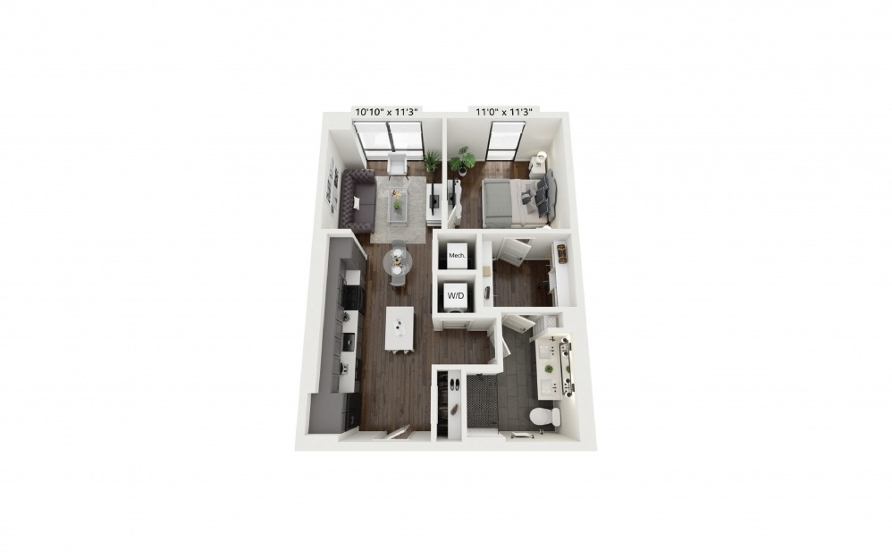 A5 - 1 bedroom floorplan layout with 1 bath and 681 square feet.