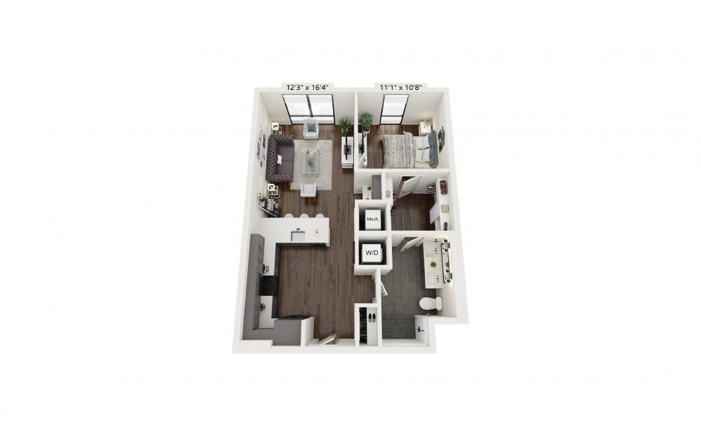 A15 - 1 bedroom floorplan layout with 1 bath and 770 square feet.