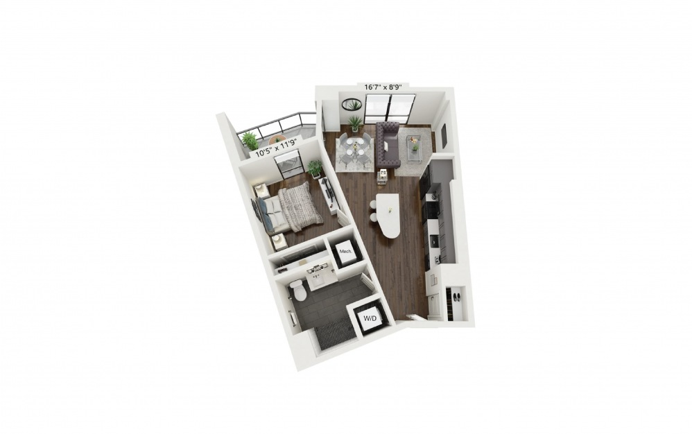 A7 - 1 bedroom floorplan layout with 1 bath and 697 square feet.