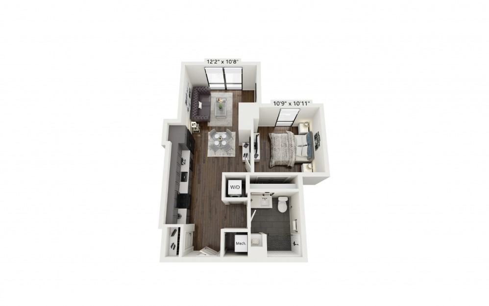 A4 - 1 bedroom floorplan layout with 1 bath and 670 square feet.