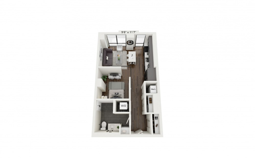 S4 - Studio floorplan layout with 1 bath and 597 square feet.