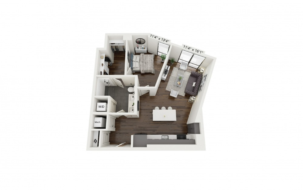 A11 - 1 bedroom floorplan layout with 1 bath and 738 square feet.