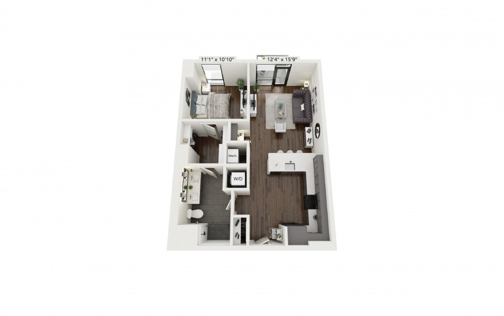 A16 - 1 bedroom floorplan layout with 1 bath and 783 square feet.