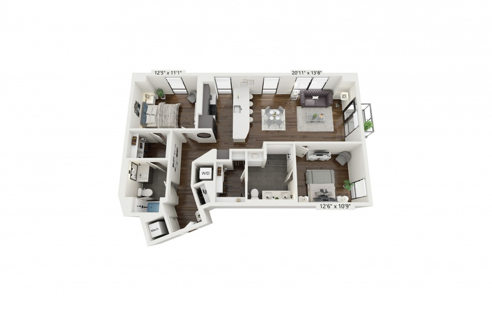 B5 - 2 bedroom floorplan layout with 2 baths and 1259 square feet.