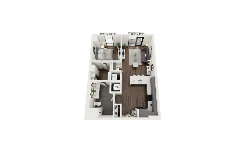 A17 - 1 bedroom floorplan layout with 1 bath and 783 square feet.