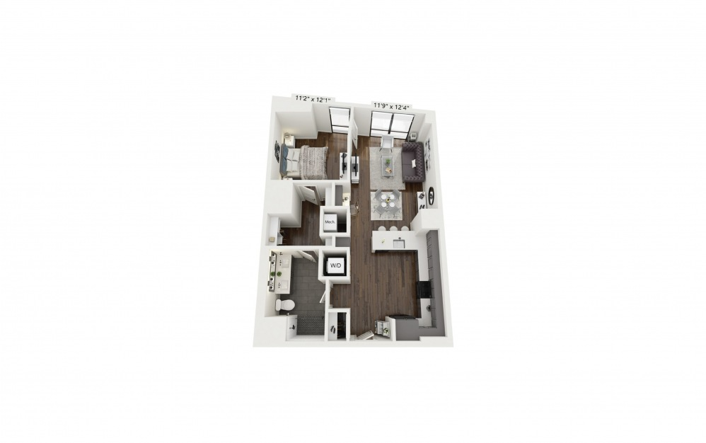 A21 - 1 bedroom floorplan layout with 1 bath and 844 square feet.