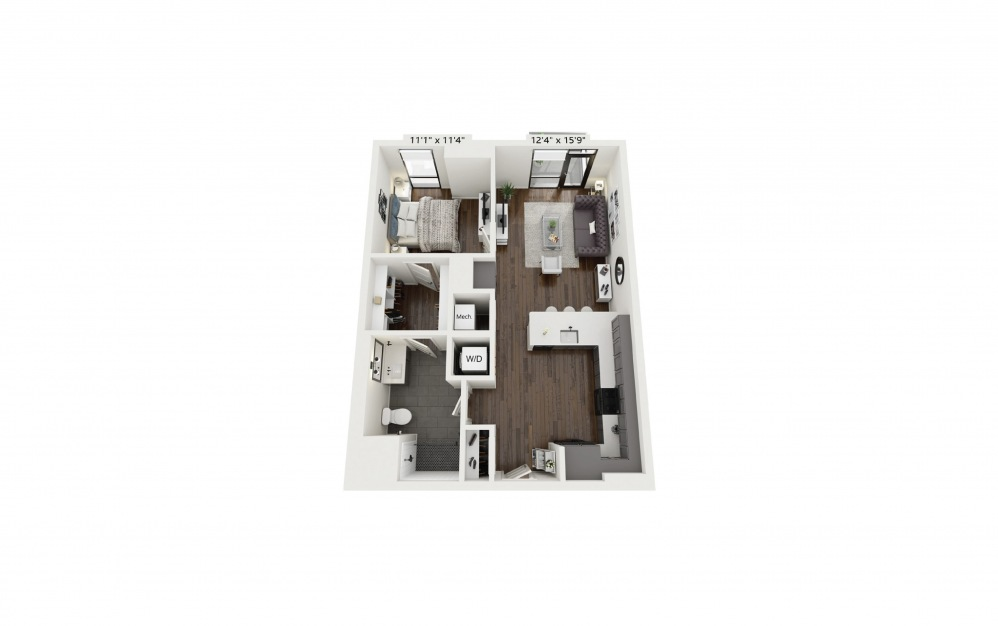 A18 - 1 bedroom floorplan layout with 1 bath and 783 square feet.