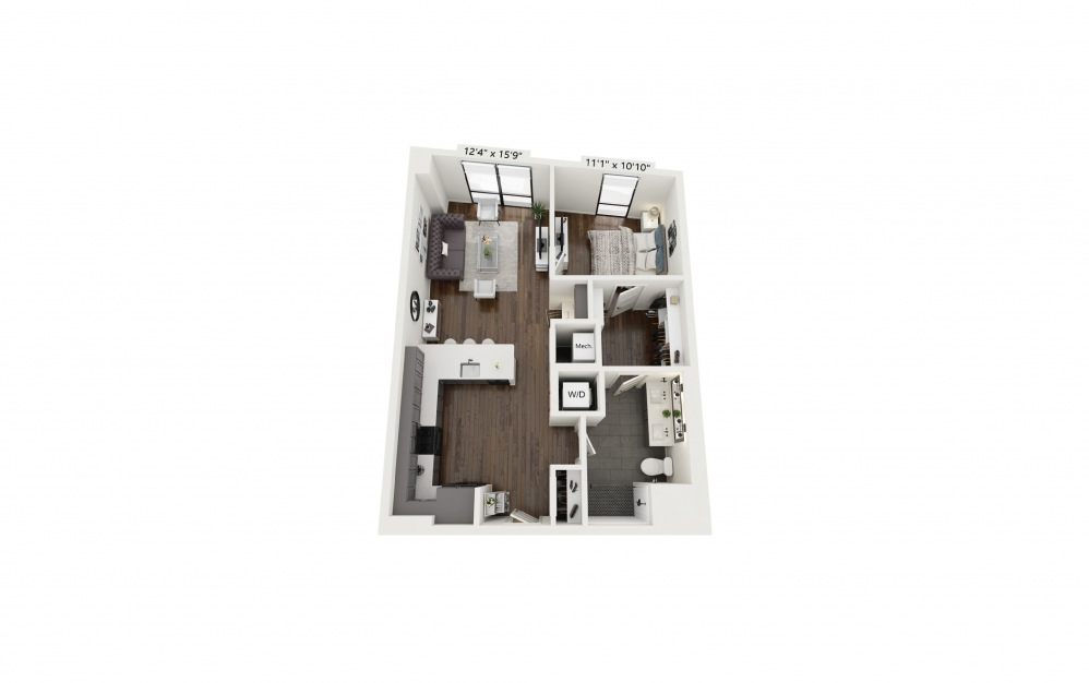 A19 - 1 bedroom floorplan layout with 1 bath and 783 square feet.