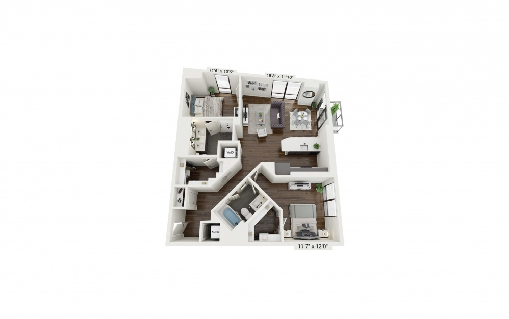 B3 - 2 bedroom floorplan layout with 2 baths and 1153 square feet.